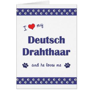 Amo mi Deutsch Drahthaar (el perro masculino) Tarjeta Pequeña