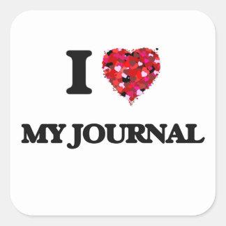 Amo mi diario pegatina cuadrada