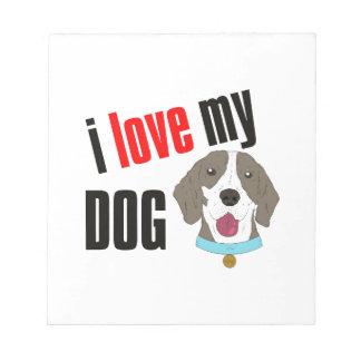 Amo mi dibujo animado del perro bloc de notas