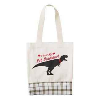 Amo mi dinosaurio del mascota bolsa tote zazzle HEART