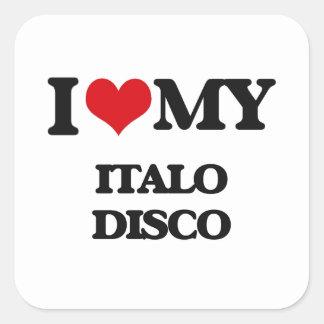 Amo mi DISCO de ITALO Pegatina Cuadrada