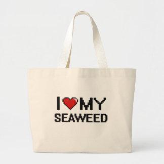 Amo mi diseño de Digitaces de la alga marina Bolsa Tela Grande