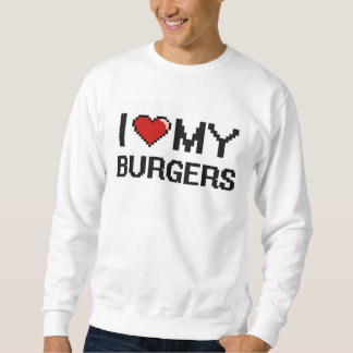 Amo mi diseño de Digitaces de las hamburguesas Sudaderas Encapuchadas