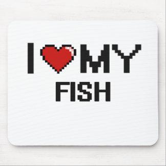 Amo mi diseño de Digitaces de los pescados Alfombrilla De Ratones