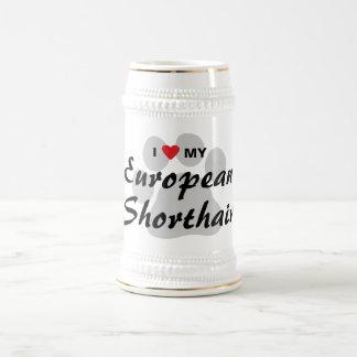Amo mi diseño de Shorthair Pawprint del europeo Taza
