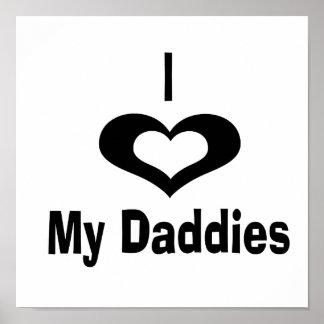 Amo mi diseño del papá de los papás con el corazón póster