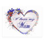 Amo mi diseño floral del corazón de la momia postales