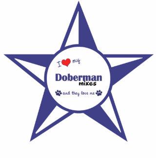 Amo mi Doberman me mezclo (los perros múltiples) Adorno Fotoescultura