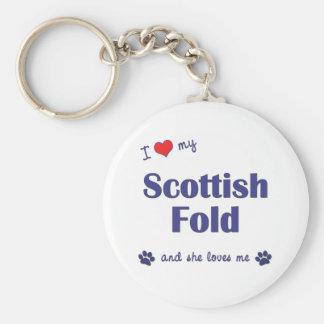 Amo mi doblez escocés (el gato femenino) llavero redondo tipo pin