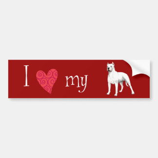 Amo mi Dogo Argentino Etiqueta De Parachoque