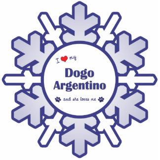 Amo mi Dogo Argentino (el perro femenino) Adorno Fotoescultura