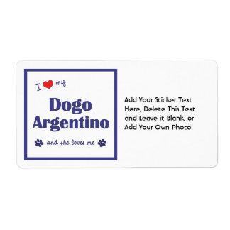 Amo mi Dogo Argentino (el perro femenino) Etiqueta De Envío