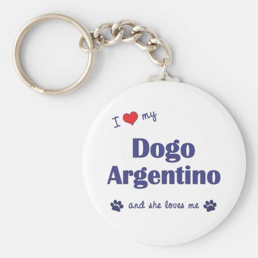 Amo mi Dogo Argentino (el perro femenino) Llavero Redondo Tipo Pin