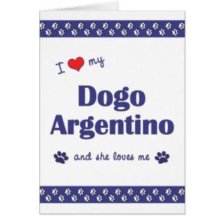 Amo mi Dogo Argentino (el perro femenino) Tarjeta Pequeña