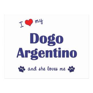 Amo mi Dogo Argentino (el perro femenino) Tarjeta Postal