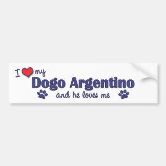 Amo mi Dogo Argentino (el perro masculino) Pegatina De Parachoque