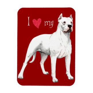 Amo mi Dogo Argentino Imán Rectangular