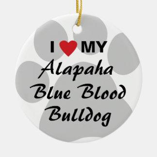 Amo mi dogo de la sangre azul de Alapaha Ornamento De Navidad
