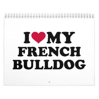 Amo mi dogo francés calendarios