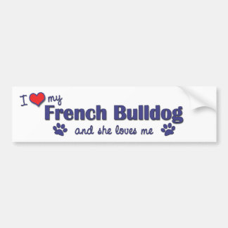 Amo mi dogo francés (el perro femenino) pegatina de parachoque