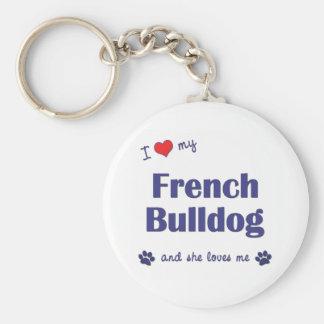 Amo mi dogo francés (el perro femenino) llaveros personalizados