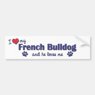 Amo mi dogo francés (el perro masculino) pegatina de parachoque