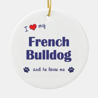 Amo mi dogo francés (el perro masculino) ornamentos para reyes magos