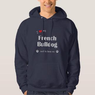 Amo mi dogo francés (el perro masculino) jersey encapuchado