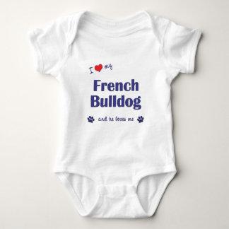 Amo mi dogo francés (el perro masculino) playeras