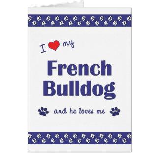 Amo mi dogo francés (el perro masculino) tarjeta pequeña