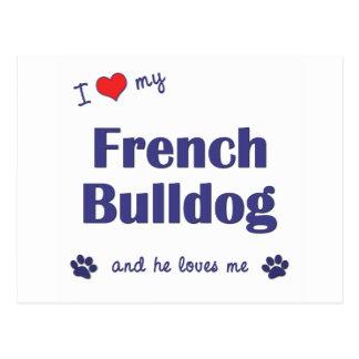 Amo mi dogo francés (el perro masculino) tarjeta postal