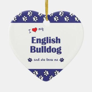 Amo mi dogo inglés (el perro femenino) adorno navideño de cerámica en forma de corazón