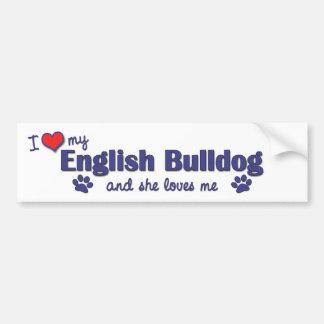 Amo mi dogo inglés (el perro femenino) pegatina para auto
