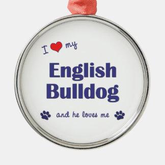 Amo mi dogo inglés (el perro masculino) adorno de reyes
