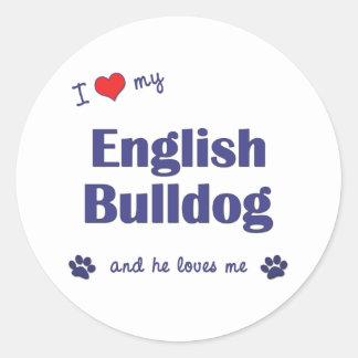 Amo mi dogo inglés (el perro masculino) pegatina redonda