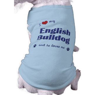 Amo mi dogo inglés (el perro masculino) playera sin mangas para perro
