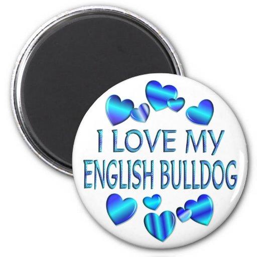 Amo mi dogo inglés imán redondo 5 cm