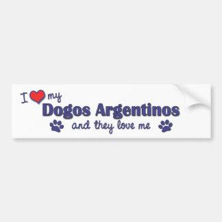 Amo mi Dogos Argentinos (los perros múltiples) Etiqueta De Parachoque