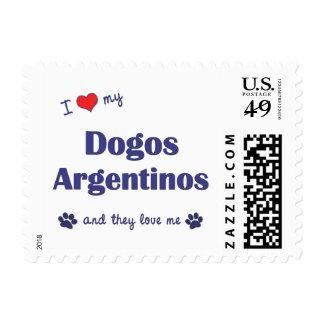 Amo mi Dogos Argentinos (los perros múltiples) Estampilla