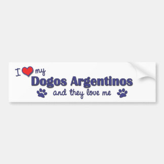 Amo mi Dogos Argentinos (los perros múltiples) Pegatina Para Auto