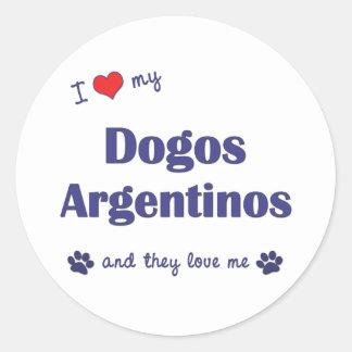 Amo mi Dogos Argentinos (los perros múltiples) Pegatina Redonda
