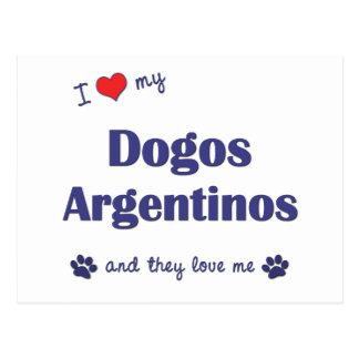 Amo mi Dogos Argentinos (los perros múltiples) Postal