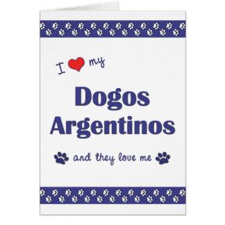 Amo mi Dogos Argentinos (los perros múltiples) Tarjeta Pequeña