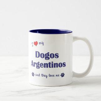 Amo mi Dogos Argentinos (los perros múltiples) Taza De Dos Tonos