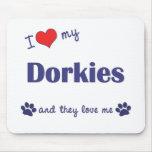 Amo mi Dorkies (los perros múltiples) Alfombrilla De Ratón