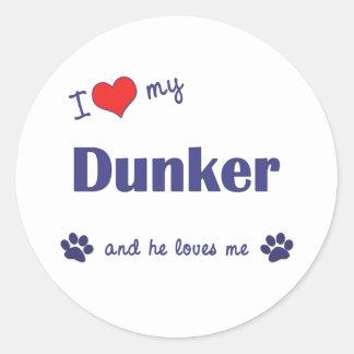 Amo mi Dunker (el perro masculino) Pegatina Redonda
