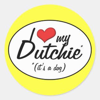 Amo mi Dutchie (es un perro) Etiquetas Redondas