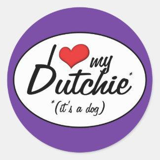Amo mi Dutchie (es un perro) Pegatina Redonda