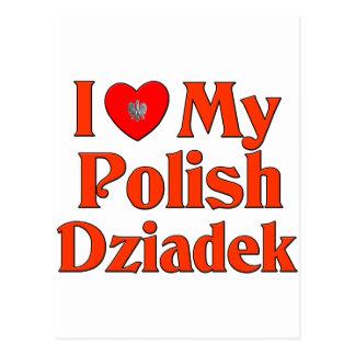 Amo mi Dziadek polaco (el abuelo) Tarjetas Postales