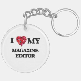 Amo mi editor de revista llavero redondo acrílico a doble cara